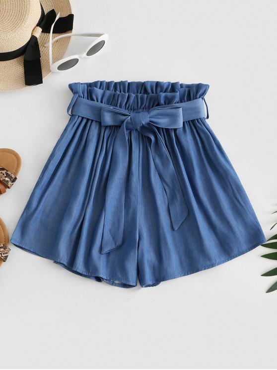 best ZAFUL High Waisted Pocket Belted Paperbag Shorts - BLUE S