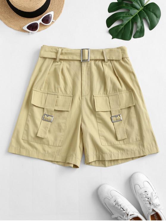 lady ZAFUL Flap Pockets Buckle Belted Utility Shorts - LIGHT KHAKI L