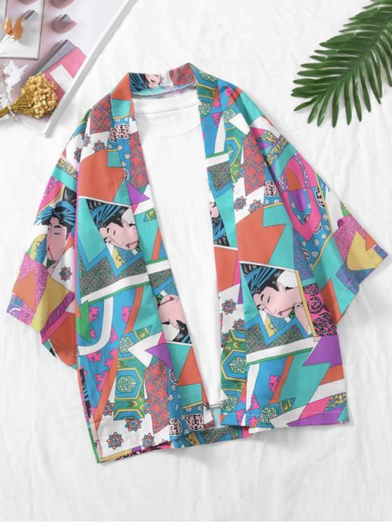 Cardigã Frente Aberta Kimono - Céu Azul Escuro 3XL
