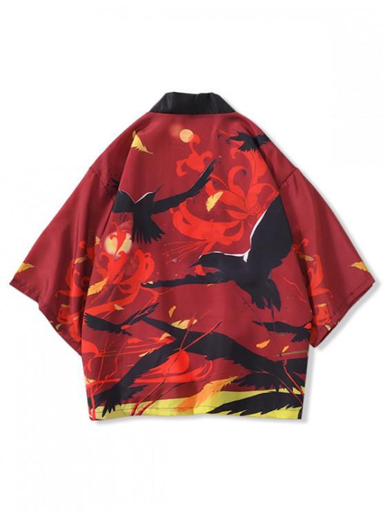 women Birds Flowers Print Open Front Kimono Cardigan - RED WINE 3XL