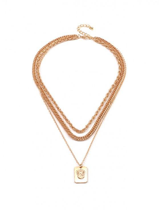 lady Engraved Sun Pendant Layered Necklace - GOLD