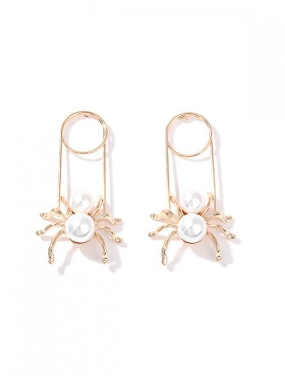 Pendientes de araña de la aleación de la perla de imitación - Blanco