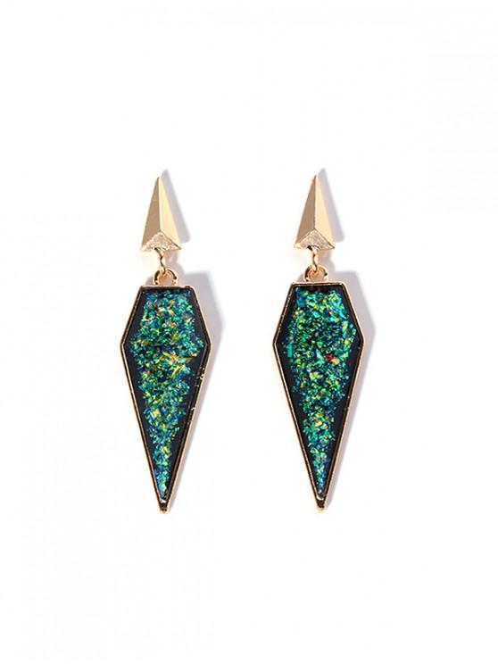 Pendientes de piedras preciosas de imitación geométrica del brillo de la resina - Verde de Mar