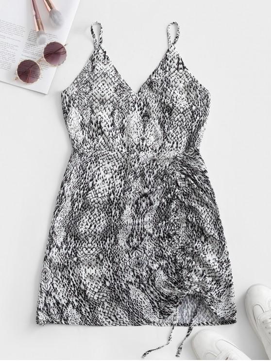 latest Cami Printed Cinched Surplice Dress - MULTI S