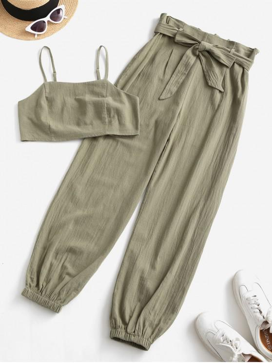outfit ZAFUL Smocked Back Cropped Belted Jogger Paperbag Pants Set - CAMOUFLAGE GREEN M