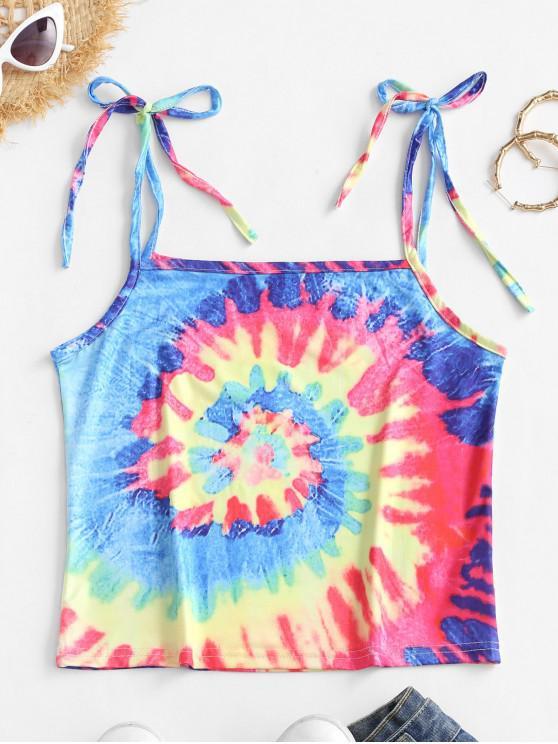 shops Tie Shoulder Rainbow Tie Dye Cami Top - MULTI-A L