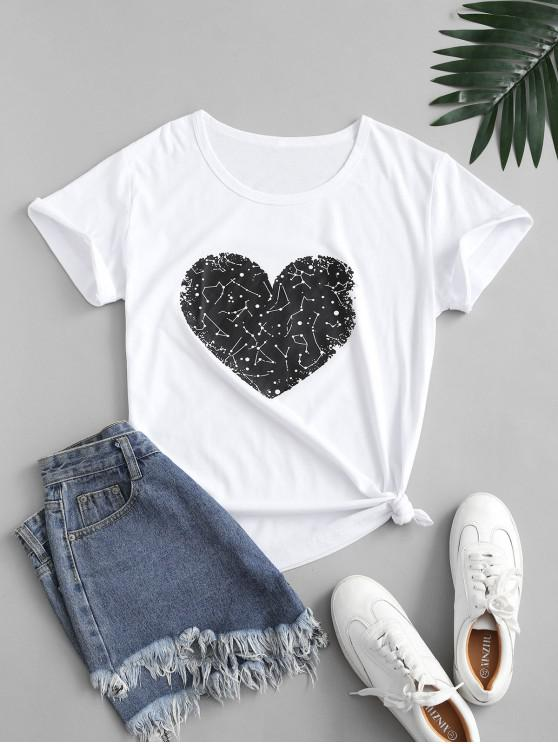affordable Basic Heart Graphic Valentine Tee - WHITE L