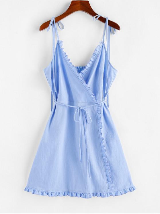 unique ZAFUL Ruffle Tie Shoulder Mini Dress - LIGHT SKY BLUE S