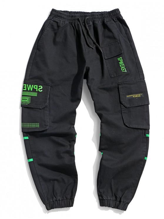 outfit Letter Print Applique Drawstring Cargo Jogger Pants - BLACK L