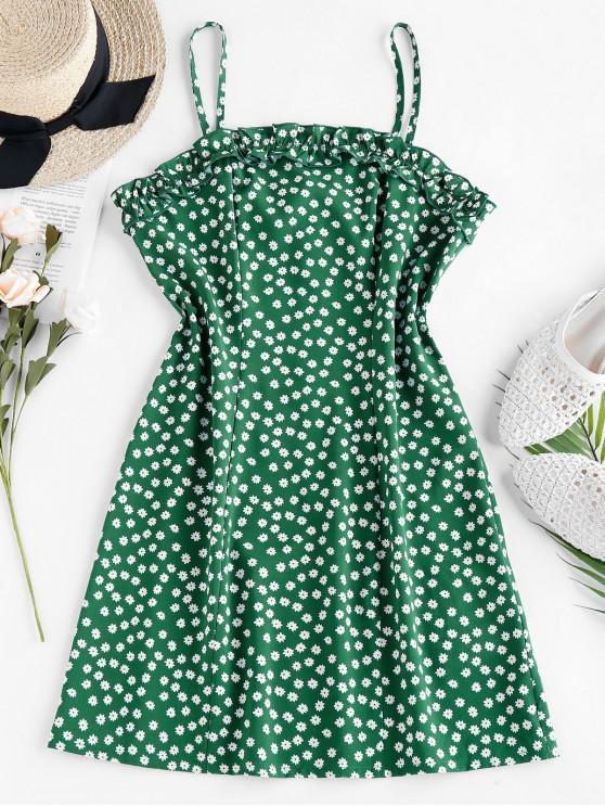 ZAFUL Mini Vestido con Volantes y Estampado de Flor - Verde de Jungla  L