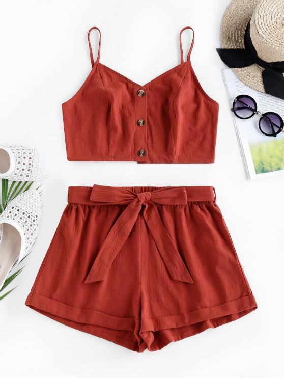 latest ZAFUL  Crop Top and Belted Two Piece Shorts Set - BEAN RED XL