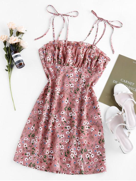 sale ZAFUL Ditsy Print Slit Mini Dress - KHAKI ROSE M
