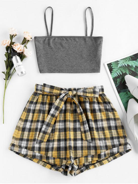 ZAFUL Plaid Belted Two Piece Set - Carbon Gray M