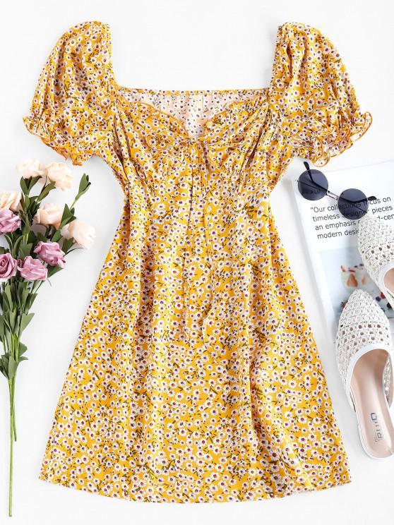 shops ZAFUL Tiny Floral Print Bowknot Milkmaid Dress - YELLOW XL