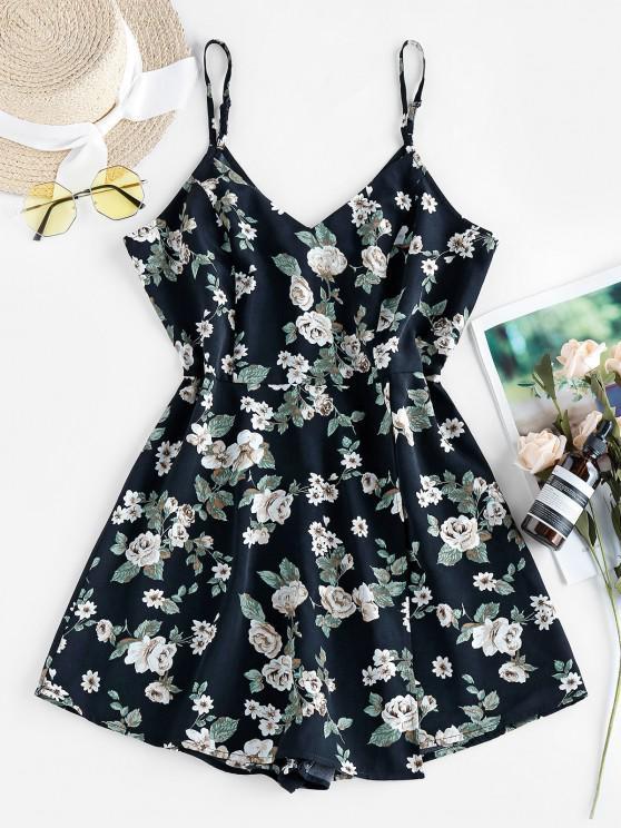 outfits ZAFUL Floral Print Slip Romper - BLACK S
