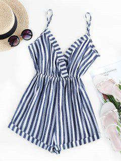ZAFUL Stripe Surplice Romper - Cadetblue S