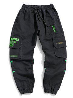 Letter Print Applique Drawstring Cargo Jogger Pants - Black M