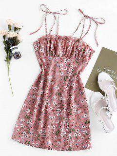 ZAFUL Ditsydruck Schlitz Minikleid - Khaki Rose M