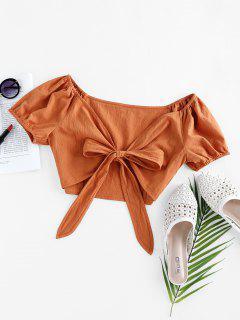 ZAFUL Puff Sleeve Front Tie Crop Top - Tiger Orange L
