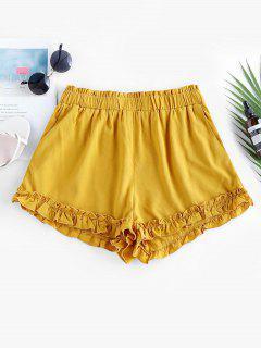 ZAFUL High Waist Ruffle Paperbag Shorts - Bee Yellow S