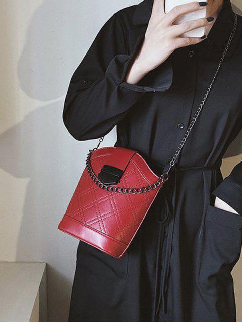 affordable Chain Strap Argyle Bucket Shoulder Bag - RED WINE  Mobile