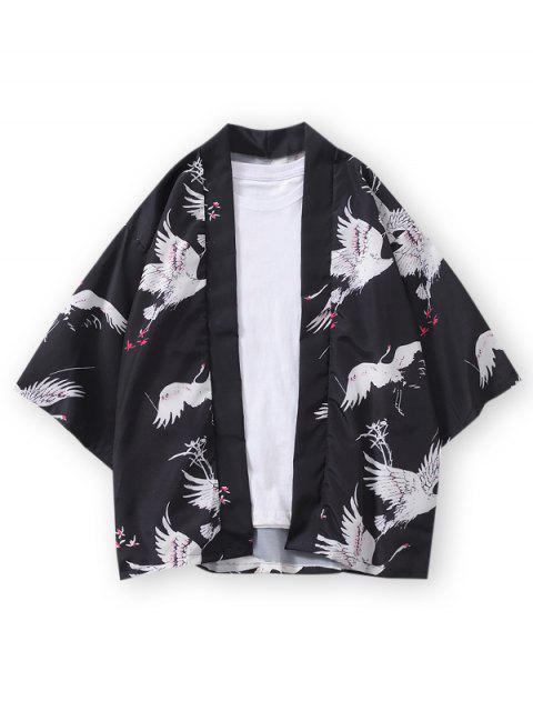 lady Open Front Crane Print Kimono Cardigan - BLACK 3XL Mobile