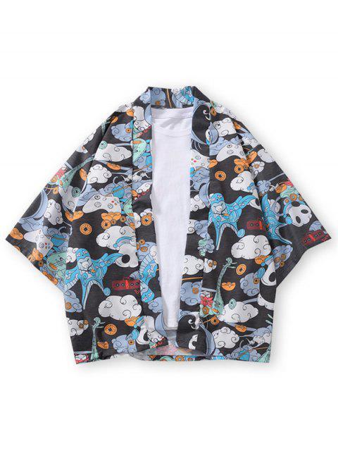 outfit Clouds Panda Print Open Front Kimono Cardigan - BLACK 3XL Mobile