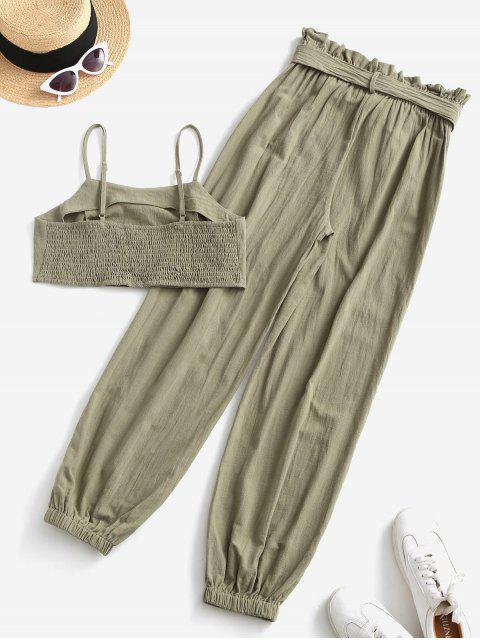 fashion ZAFUL Smocked Back Cropped Belted Jogger Paperbag Pants Set - CAMOUFLAGE GREEN XL Mobile