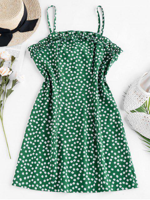online ZAFUL Ruffle Ditsy Print Mini Cami Dress - JUNGLE GREEN M Mobile