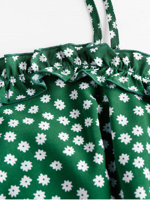 ZAFUL Mini Vestido con Volantes y Estampado de Flor - Verde de Jungla  S Mobile