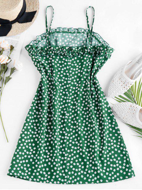 ZAFUL Ruffle Ditsy Print Mini Cami Dress - الغابة الخضراء S Mobile