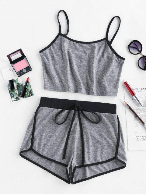 hot ZAFUL Contrast Trim Camisole And Dolphin Shorts Set - GRAY M Mobile