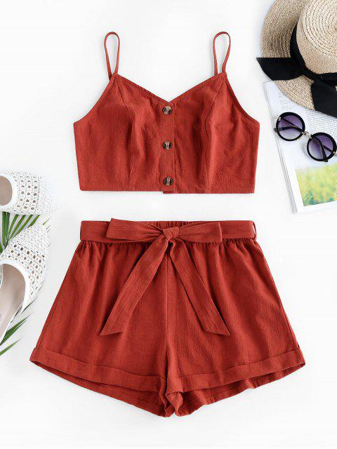 trendy ZAFUL  Crop Top and Belted Two Piece Shorts Set - BEAN RED S Mobile
