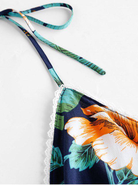 hot ZAFUL Halter Tropical Print Backless Romper - DARK SLATE BLUE S Mobile
