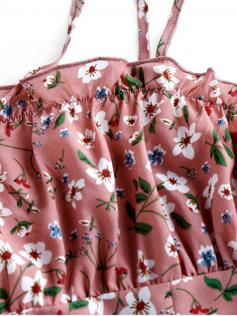 sale ZAFUL Ditsy Print Slit Mini Dress - KHAKI ROSE M Mobile
