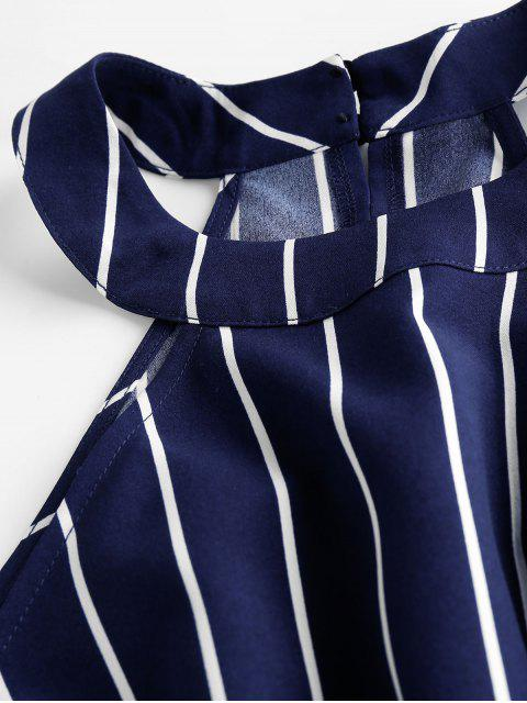 outfits ZAFUL Stripe Sleeveless Romper - DARK SLATE BLUE S Mobile