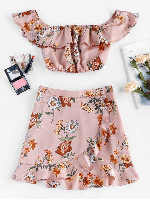 best ZAFUL Ruffle Off Shoulder Floral Print Two Piece Dress - PINK XL Mobile
