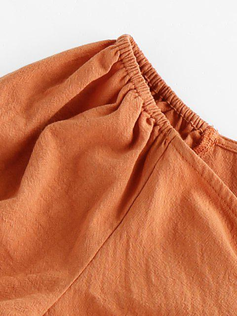 lady ZAFUL Puff Sleeve Front Tie Crop Top - TIGER ORANGE XL Mobile