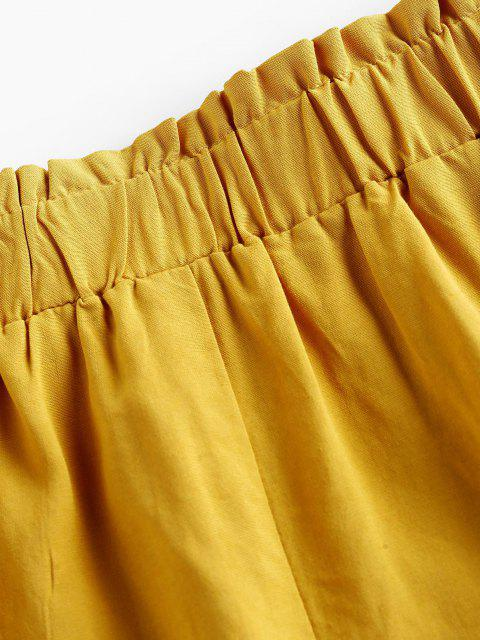 outfit ZAFUL High Waist Ruffle Paperbag Shorts - BEE YELLOW L Mobile