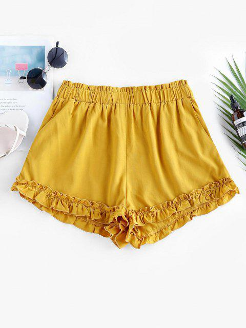 lady ZAFUL High Waist Ruffle Paperbag Shorts - BEE YELLOW XL Mobile
