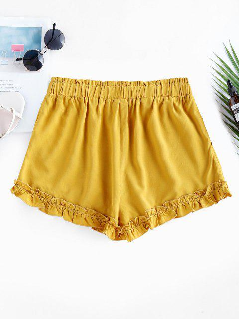 sale ZAFUL High Waist Ruffle Paperbag Shorts - BEE YELLOW S Mobile