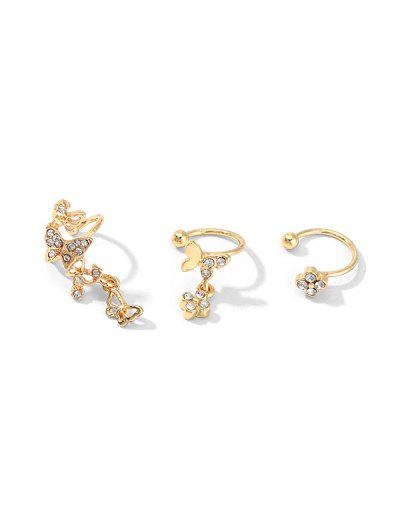 3Pcs Butterfly Cuff Earrings Set