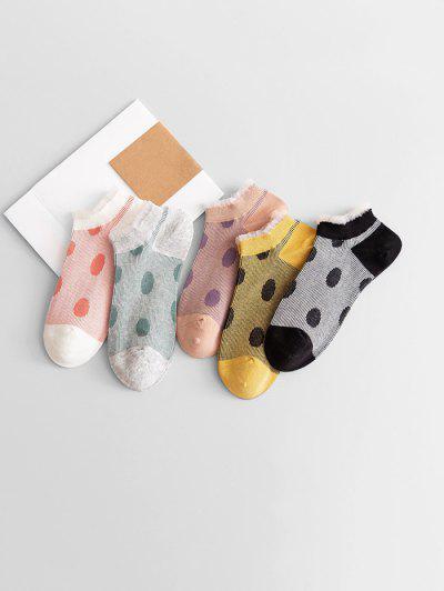 5Pairs Dots Low Cut Socks Set
