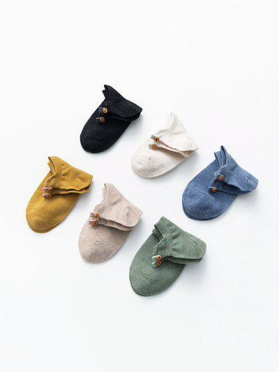 6Pairs Button Cotton Socks Set
