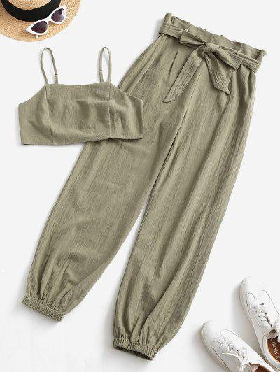 ZAFUL Smocked Back Cropped Belted Jogger Paperbag Pants Set - Camouflage Green S