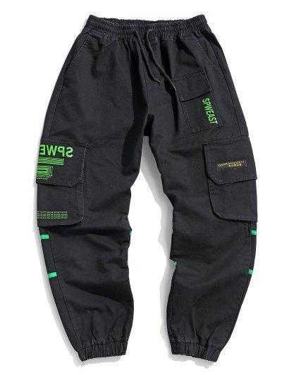 Letter Print Applique Drawstring Cargo Jogger Pants - Black Xs