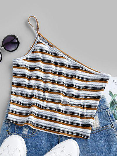 ZAFUL Ribbed One Shoulder Stripe Crop Top - Multi-a S