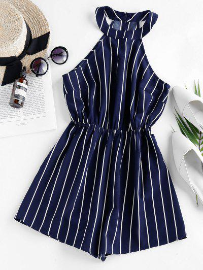 ZAFUL Stripe Sleeveless Romper - Dark Slate Blue M
