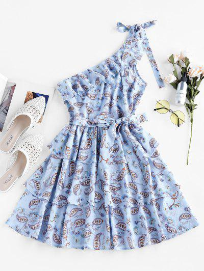 ZAFUL Paisley Print One Shoulder Layered Dress - Sea Blue M