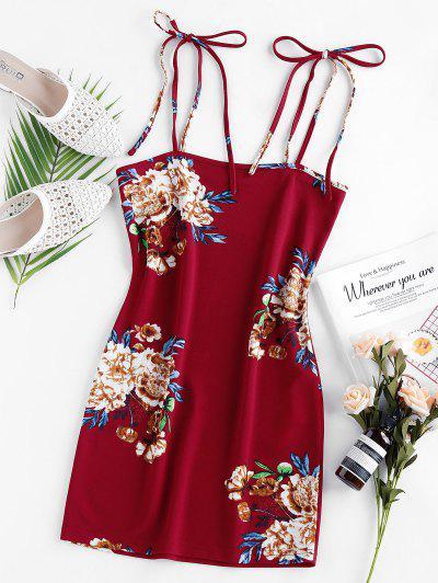 ZAFUL Robe Moulante Fleurie Imprimée - Rouge Lave M